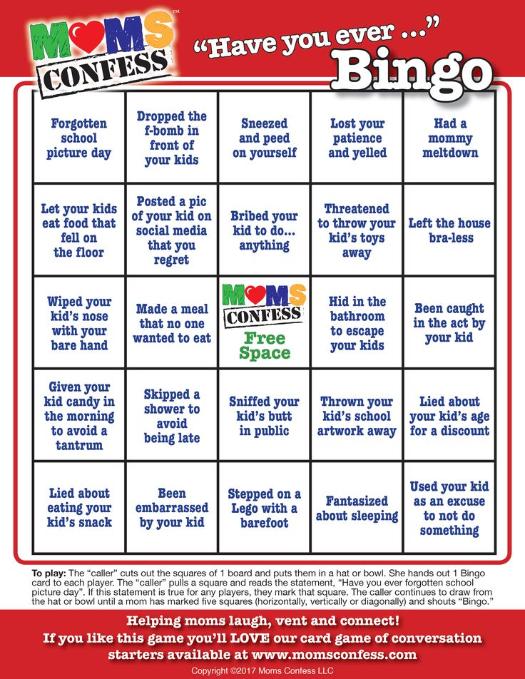 "Moms Confess ""Have you ever..."" BINGO game. A fun party game for baby showers, moms' club meetings, moms' night out and moms' night in events. Visit our website, join our email list to access the free high quality printable."