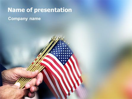 This patriotic PowerPoint template showing a bunch of little flags of America in hands will fit presentations on American holidays, patriotic holidays, Independence Day, 4th July, Independence Day, 4th July celebration, etc.