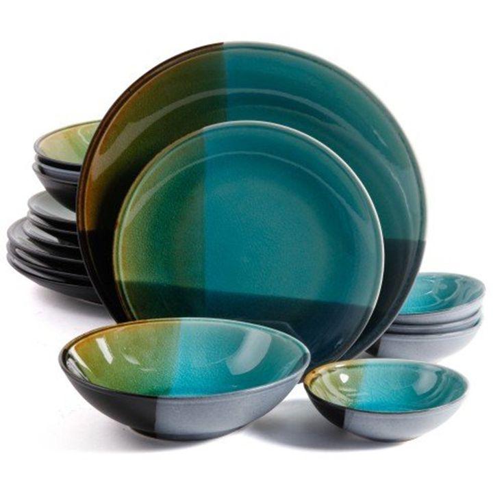 gibson elite 16pc quadrangle stoneware dinnerware set