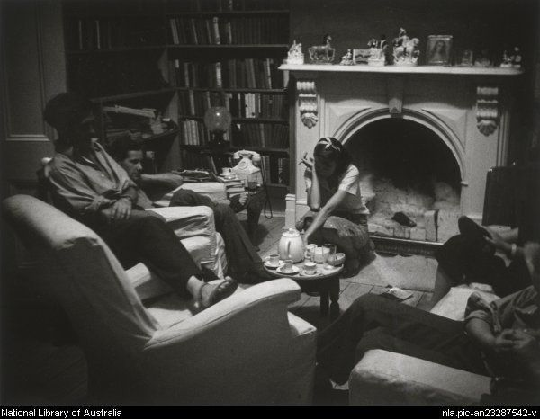 In the library: John Reed, Sidney Nolan, and Sunday Reed... by Albert Tucker, c. 1942 Melbourne