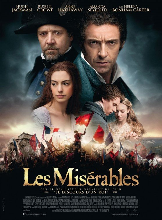 Les Misérables (2012) Won: Best Performance by an Actress in a Supporting Role---Anne Hathaway; Best Achievement in Makeup and Hairstyling; Best Achievement in Sound Mixing. Nominated: Best Motion Picture of the Year; Best Performance by an Actor in a Leading Role---Hugh Jackman; Best Achievement in Production Design; Best Achievement in Costume Design---Paco Delgado; Best Achievement in Music Written for Motion Pictures, Original Song. http://www.imdb.com/title/tt1707386/awards?ref_=tt_awd