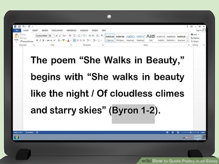How To Quote Poetry In An Essay With Pictures Wikihow Quotes Poems Image Quotes