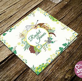 A bespoke floral themed wedding invitation for Rachel and James with illustrations of the Eiger Mountain (Switzerland), Cleo the cat, Glastonbury Tor, Winking man cliff (Peak District), 12 string guitar, icons of Australia and New Zealand, a compass, flowers and leaves.  #bespoke #wedding #invitation #outdoors #illustration #love #engaged #personalised #somerset #green #floral #leaves #flowers #australia #newzealand #guitar #compass #mountain #glastonbury #cat