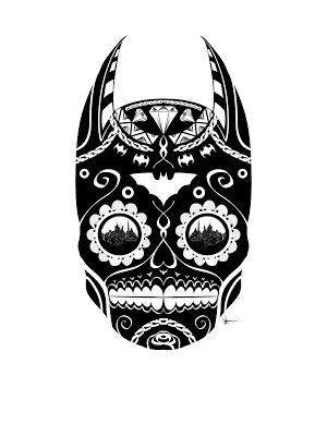 Batman Sugar Skull Negative Rework by Ken Doll