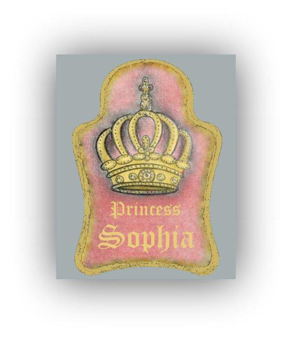 Royal Crown Wall Art Pink Grey Custom Name Princess Decor