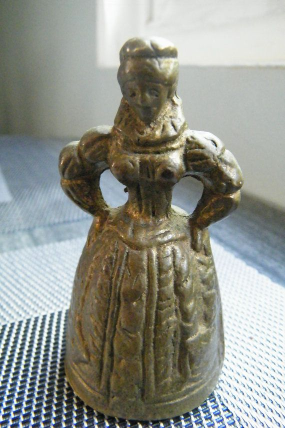 Antique Victorian Solid Brass Lady Bell English by GlossyStones, $55.00
