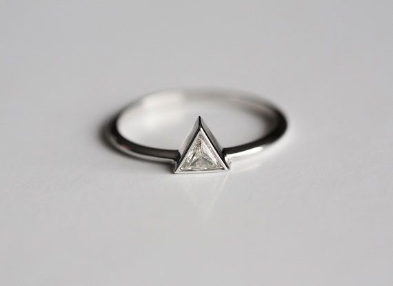 Triangle Diamond Engagement RingTrillion Ring by MinimalVS on Etsy