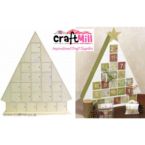 24 Door Tree Shaped Advent Calendar - Wooden Advent Calendars - Plain Wooden Boxes & Decoupage Blanks | Craftmill