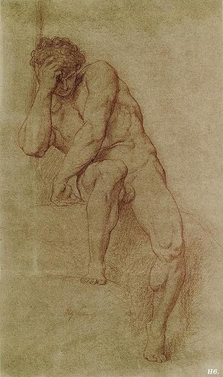 Adam. study for Paradise lost. Alexandre Cabanel. 1823-89.
