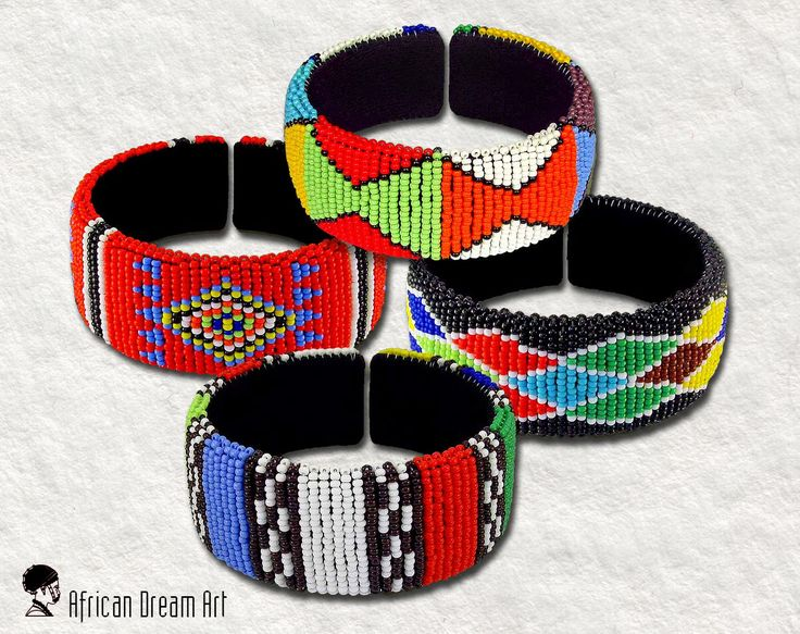 SPECIAL OPENING DISCOUNT !  PRICE IS FOR ONE BANGLE.  African Beaded Bangles Wide Mixed  Zulu Ethnic Style  Width is 7.5 cm/3 inch. Height is 4 cm/1.6 inch  Made by Zulu Artists in South Africa  Our items are 100% handmade. Therefore, variances in size, color, texture and style will occur.  All items are hand crafted from the Zulu tribe in South Africa.  All items will be posted from South Africa.