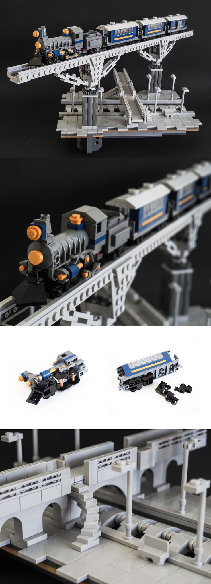 elevated train tracks LEGO vignette by 'Galaktek'