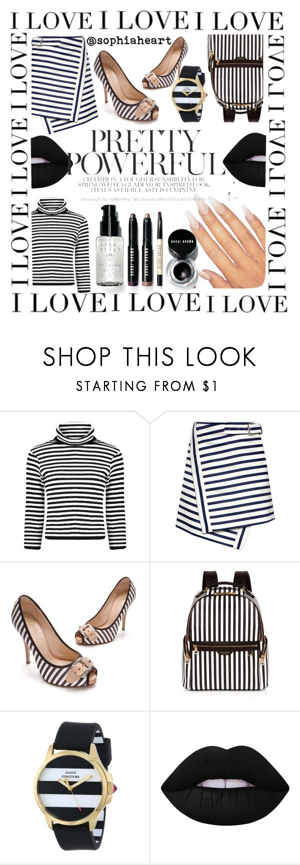 """""""Feeling Stripey..."""" by sophiaheart on Polyvore featuring Carven, Giuseppe Zanotti, Henri Bendel, Juicy Couture, Lime Crime and Bobbi Brown Cosmetics"""