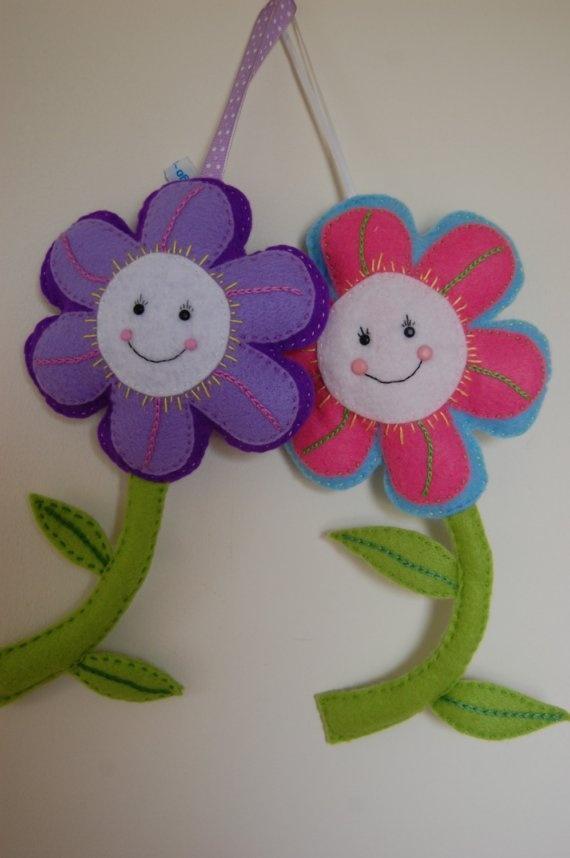Purple  or Pink Funky Felt Flower  SALE by indigo1 on Etsy, $10.00