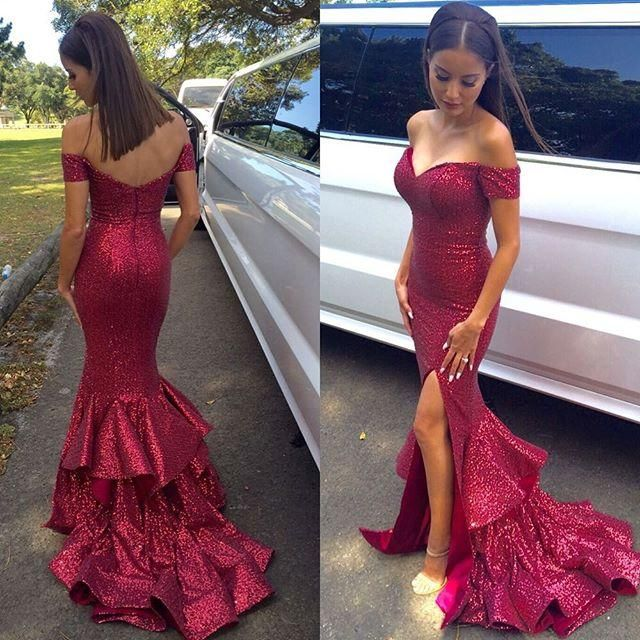 2016 New Y Red Sweetheart Mermaid Evening Dresses Backless Side Split Off Shoulders Tiered Skirts Plus