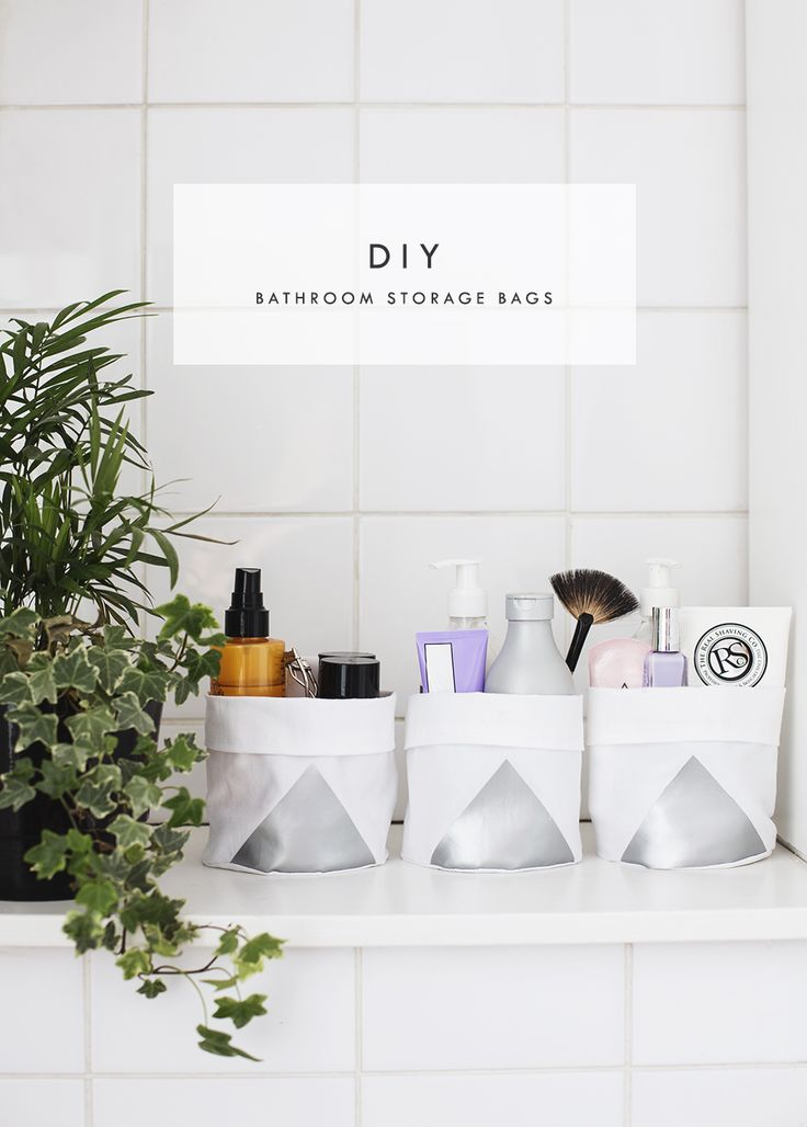 DIY bathroom bucket bags | the lovely drawer