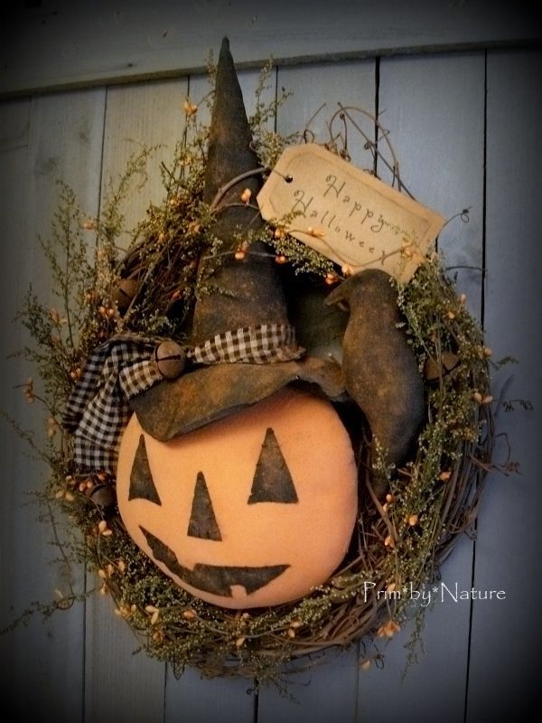 Primitive Pumpkin Witch Wreath with Crow Fall Halloween JOL Primitive… More