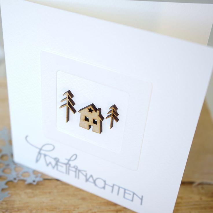 Best Wood veneer H uschen und B ume frohe Weihnachten Holzh user von Charlie und Paulchen simple Karte Weihnachtskarte einfach