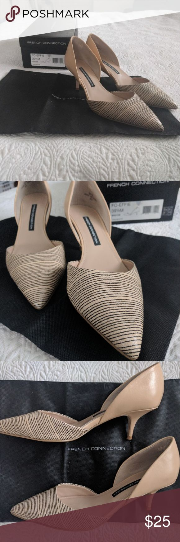 French Connection Nude Pointed Pumps Super cute French Connection nude heels with small heel. Great black detail in front, professional and versatile. Size 9.5 and in great condition. French Connection Shoes Heels