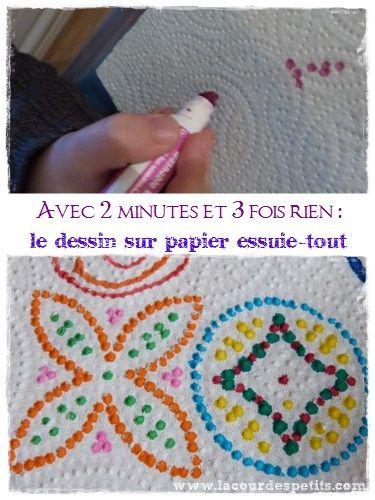 Une activité facile, économique et rapide à mettre en place et qui peut faire office d'exercice de graphisme en maternelle: le dessin sur papier essuie-tout