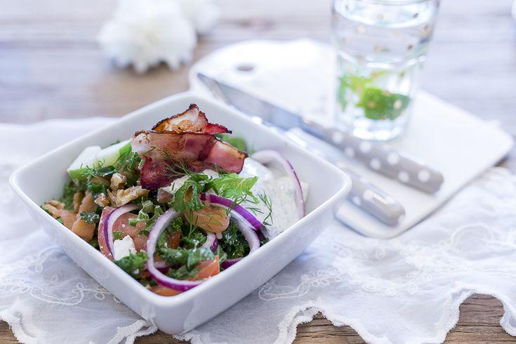 caroline berg eriksen salat med bacon røket laks oppskrift-onsdag ferdig 2