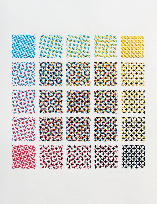 Stitched CMYK Colour Chart. Embroidering the cyan/magenta/yellow/black or CMYK colour model required in colour printing, Evelin creates a handmade printing process that charts colours combinations by an interval of 25%.