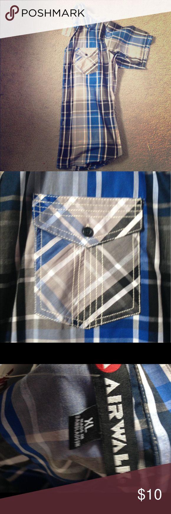 Men's Plaid Shirt Blue and black Plaid shirt. New with tags Air Walk Shirts Casual Button Down Shirts