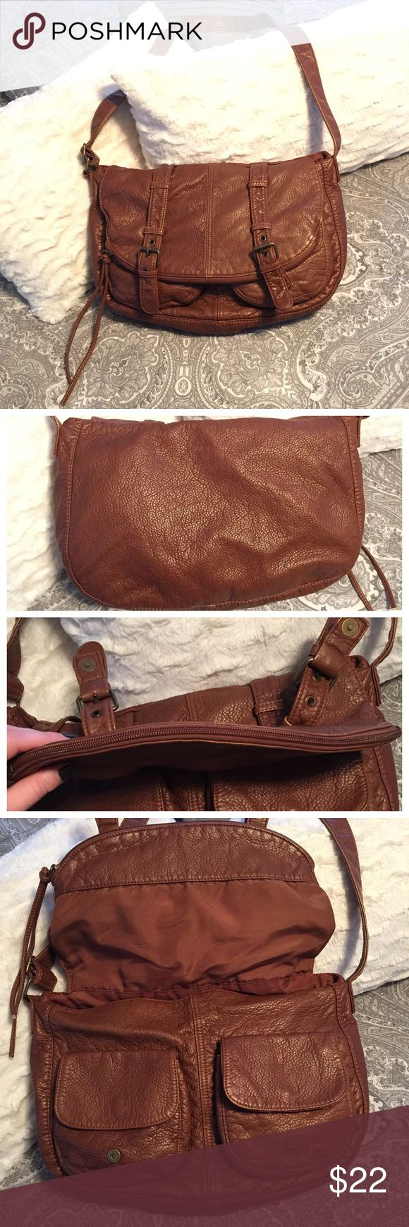"""Black Poppy faux leather crossbody PacSun Brown slouchy, soft faux leather crossbody (or shoulder bag) from Black Poppy (sold at PacSun). Inside has two side pockets and a zipper pocket, under the flap closure there are two outside pockets (shown in photos), zipper along flap opens an entire separate section of the purse. Lots of space. Only used a couple times, perfect condition. About 11"""" top to bottom, 14-15"""" across, 20"""" strap drop Black Poppy Bags Crossbody Bags"""