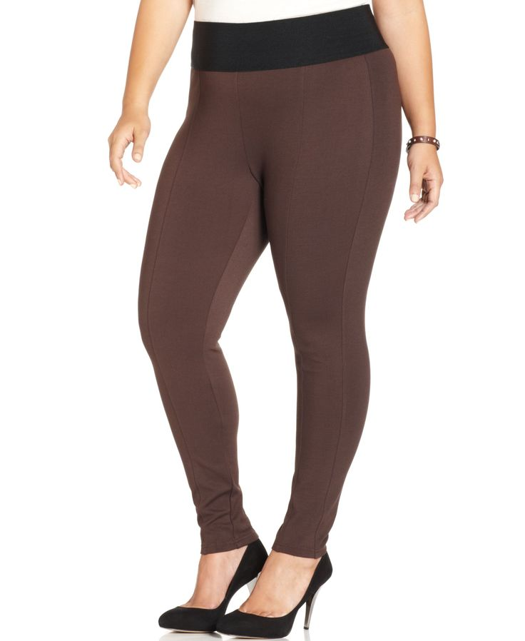 Defined by a sleek fit, American Rag's ponte-knit plus size pants are must-haves…