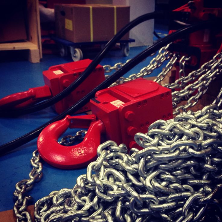 RED ROOSTER Air Chain Hoists Being prepared for shipment. Safe, Reliable and Available.
