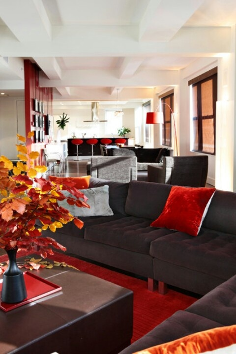 The red and gray with chocolate brown :)  Modern Living RoomsLiving Room  ...