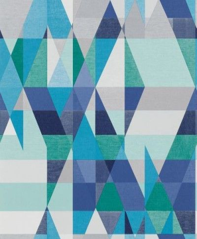 Axis Sapphire (110833) - Scion Wallpapers - An all over geometric design in various colours. Shown here in various shades of blue, green and grey. Other colourways are available. Please request a sample for a true colour match. Paste-the-wall product. Wide width product.