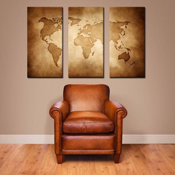 Canvas print world map and wonders of the world on old paper map canvas vintage world map large canvas art large wall decor home decor vintage art modern home gumiabroncs Images