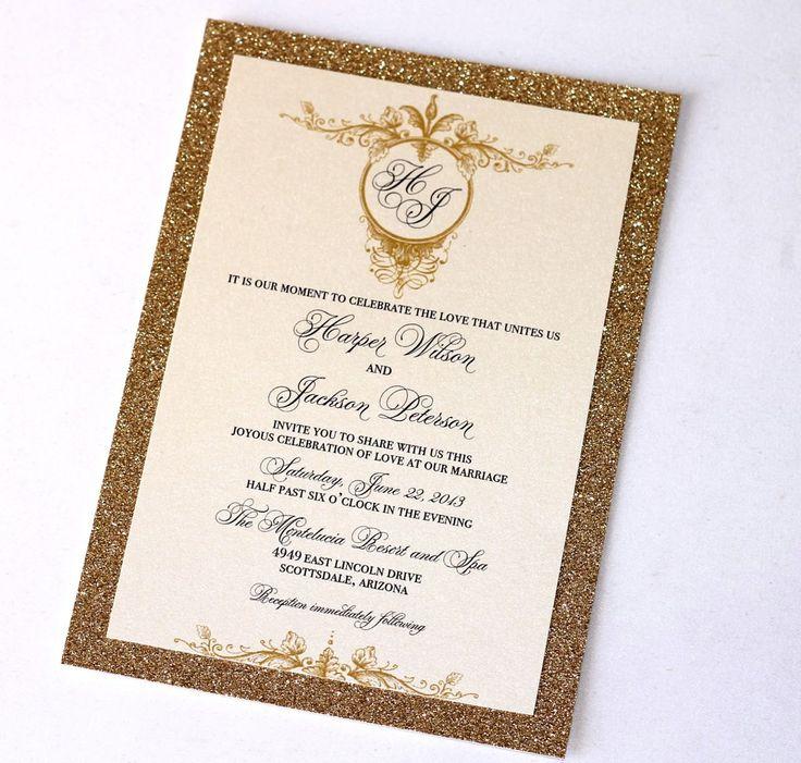 Harper Vintage Bling Invitation Set Sample   Ivory, Creme, Gold Glitter,  Via Etsy