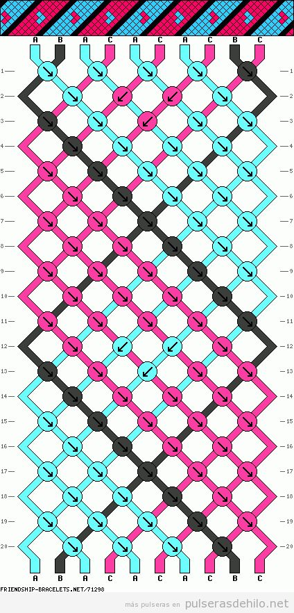 Patrón o esquema para hacer pulsera de hilo de rayas y corazón