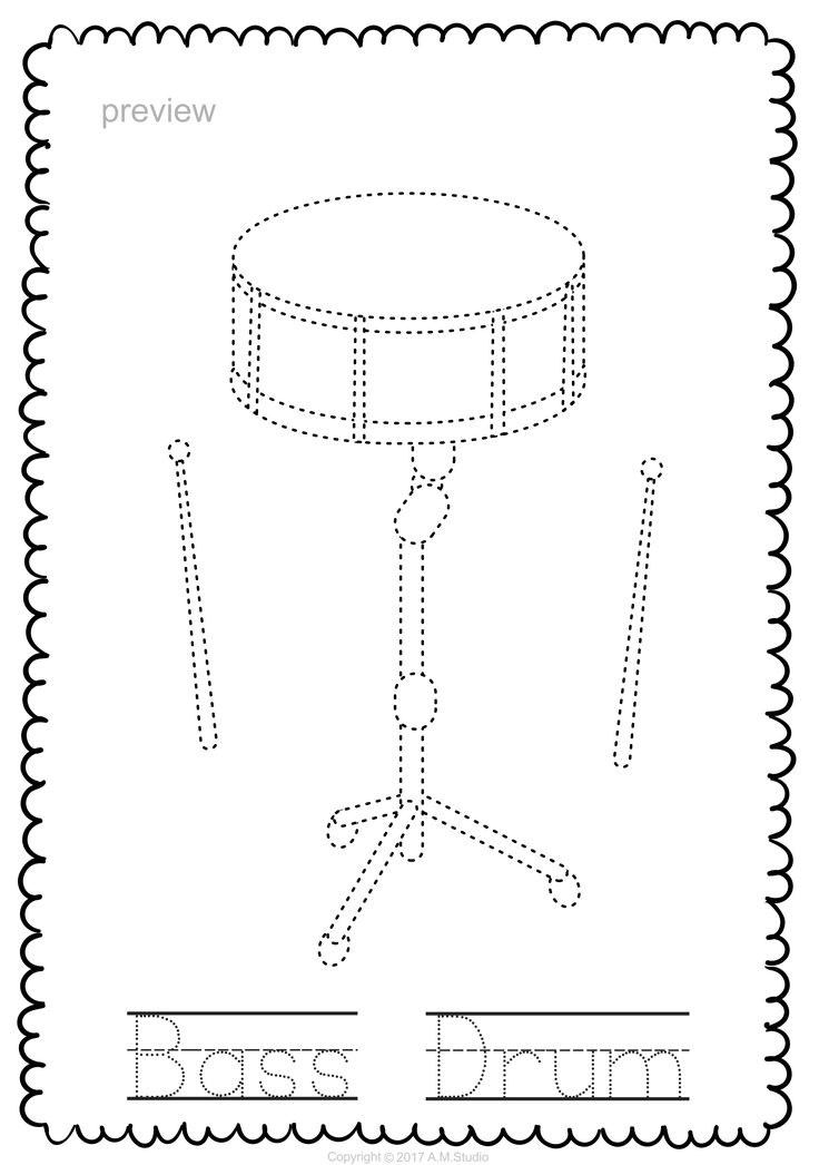 Percussion Instruments Line Puzzles Percussion, Music