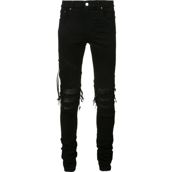 Amiri Ripped Slim-Fit Jeans ($1,240) ❤ liked on Polyvore featuring men's fashion, men's clothing, men's jeans, jeans, pants, men, black, mens leather jeans, mens torn jeans and mens slim fit jeans