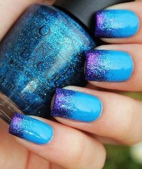 Blue Ombre Dip Dye Nail Polish #blue #ombre #nail