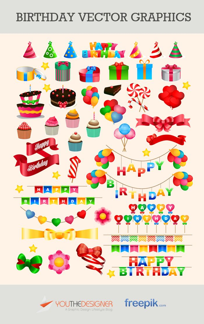 Free Vector Pack: Birthday Vector Graphics | #vectors #graphics