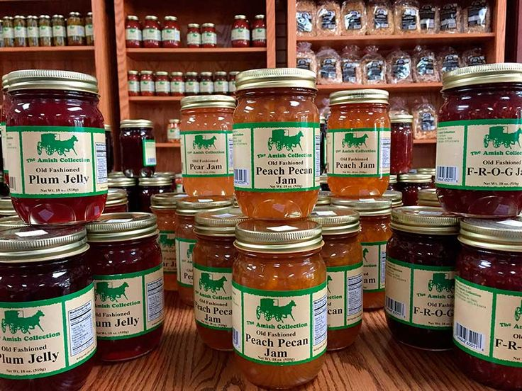 Come and shop our Amish Pantry  Take home delicious Amish made jams, jellies, pickles, relishes, salsas, noodles, popcorns, candies and more. Taste the goodness of our local raw unfiltered honey, our pure maple syrup and our Kentucky sorghum. We carry 11 different fruit butters with Apple Butter being our #1 seller. We have something for everyone.