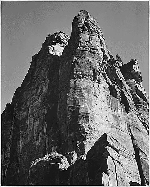 """Rock Formation, from Below, """"In Zion National Park,"""" Utah (Vertical Orientation) by Ansel Adams"""