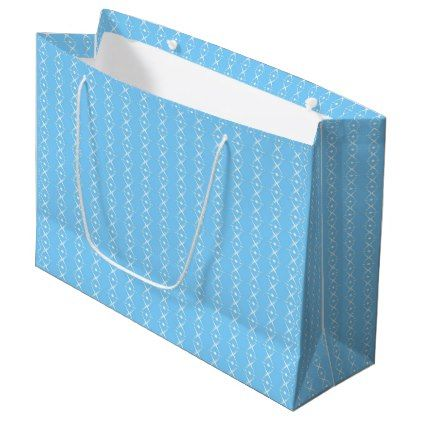 Delicate Soft Baby Blue Diamond Striped Pattern Large Gift Bag ... e0f0449db