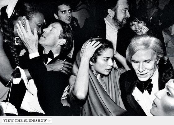 New Year's Eve, 1978, at Studio 54: from left, Halston (the woman he is kissing is unidentified), Bianca Jagger, Jack Haley Jr. and wife Liza Minnelli, and Andy Warhol.