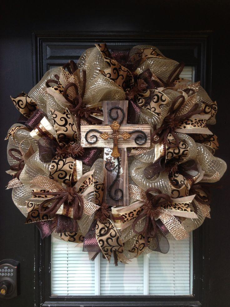 Elegant cross mesh wreath by Glitzy Wreaths Www.facebook.com/glitzywreaths