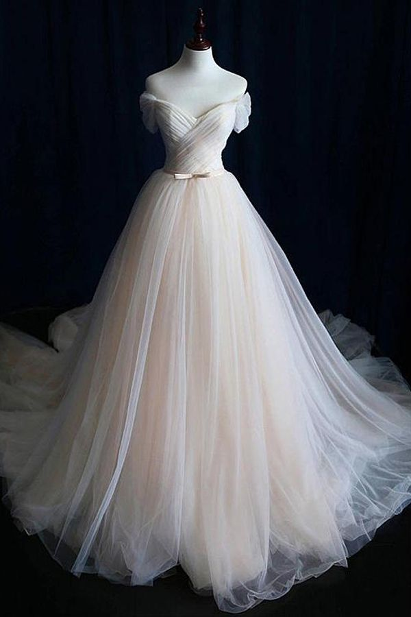 [183.50] Alluring Tulle Off-the-shoulder Neckline A-line Wedding ceremony Gown With Belt