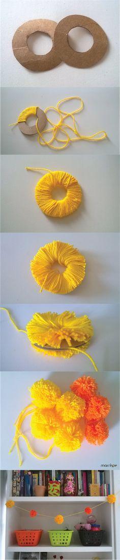 Passo-a-passo cordão de pompom #artesanato #decoração #pompom #cordãodepompom…