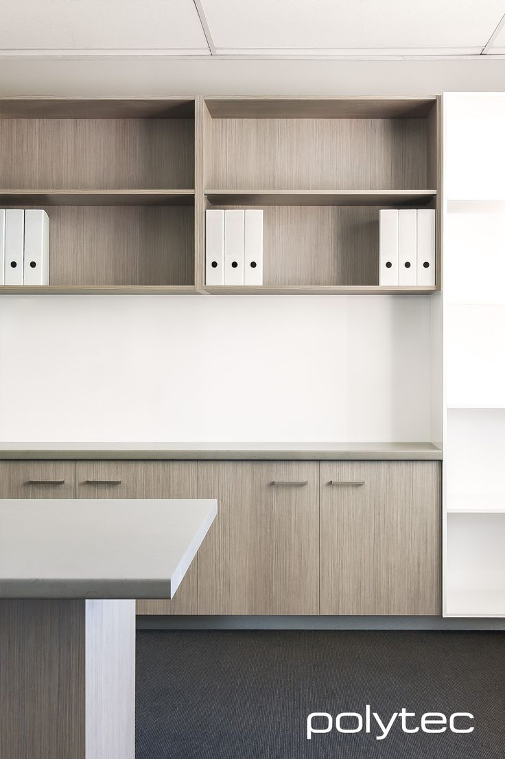 Doors and shelves in RAVINE Tessuto Milan. Bookcase in MELAMINE Classic White Matt. Benchtop in LAMINATE Stone Marquina