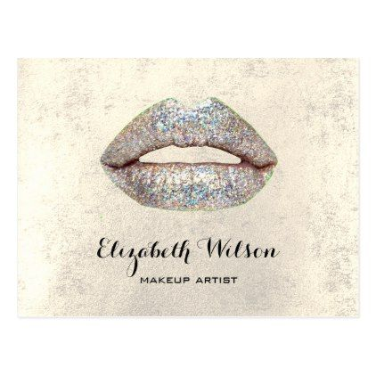 faux silver glitter lips makeup artist postcard - glitter glamour brilliance sparkle design idea diy elegant