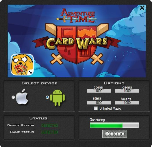 This hack works 100% to the game to the game Card Wars. This is a great tool you will be generate a lot of coins, gems, stars and hearts. Check it by download the hack. You do not have to spend their their real money. This version of the hack works on your chosen device iOS or Android.  http://wazzupgames.com/card-wars-hack/