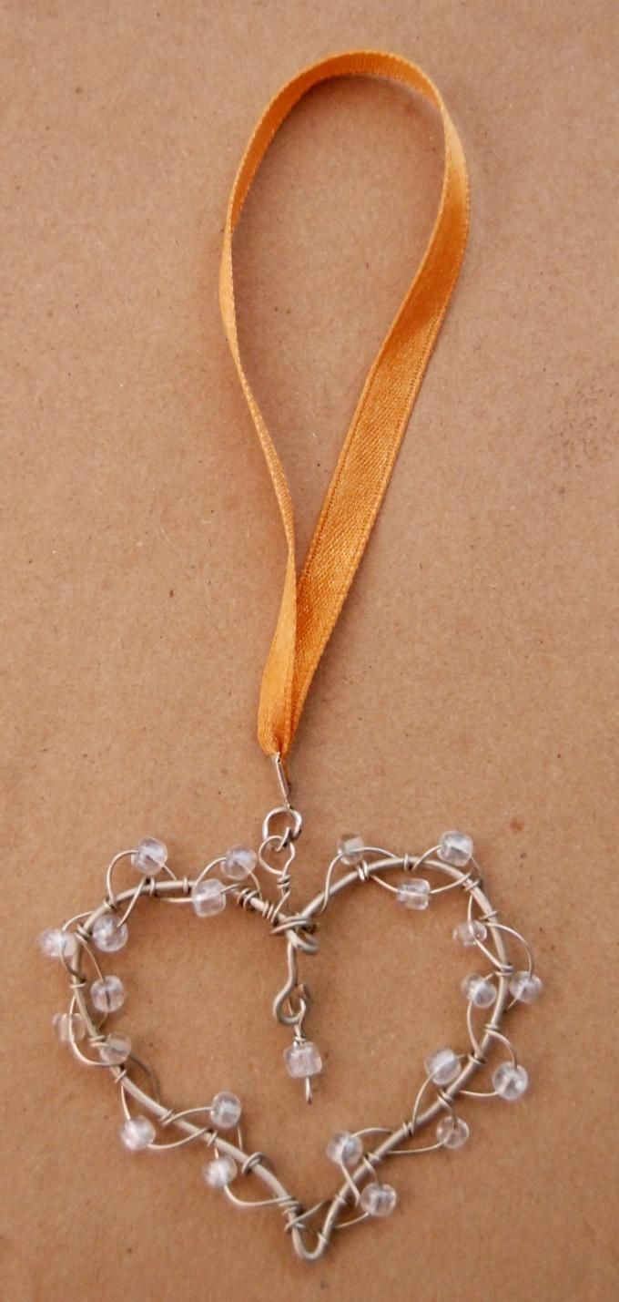 Wire Wrap Heart and Bead Ornament