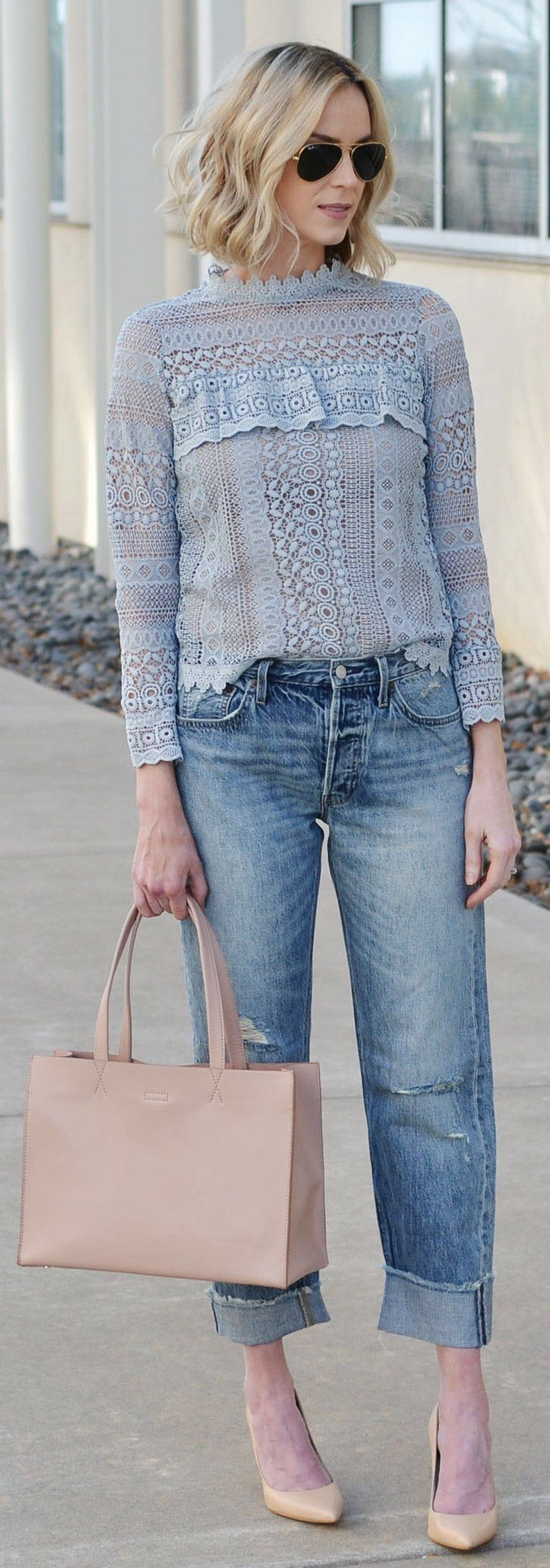 #spring #fashion /  Blue Lace Top / Ripped Denim / Beige Pumps / Leather Tote Bag